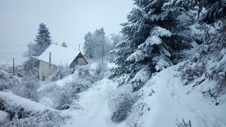 Συνεχίζει η χιονόπτωση στα Τρίκαλα Κορινθίας – 31/12/2015